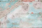 pic of shabby chic  - Old wooden shabby chic background with aged calcification of mussels and fossils in turquoise pastel colors - JPG