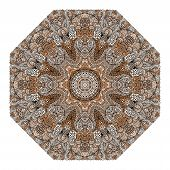foto of octagon  - Octagonal brown ornament on a white background - JPG