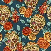 stock photo of sugar skulls  - Beautiful Skull - JPG