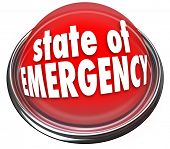 picture of emergency light  - State of Emergency words on a 3d flashing light or button warning about a crisis - JPG