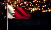 pic of bahrain  - Bahrain National Flag City Light Night Bokeh Background 3D - JPG