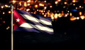 foto of light-pole  - Cuba National Flag City Light Night Bokeh Background 3D - JPG