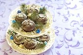 pic of desert christmas  - Homemade Christmas chocolate cakes with powdered sugar - JPG