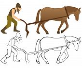picture of horse plowing  - Plowman and horse with plow  - JPG