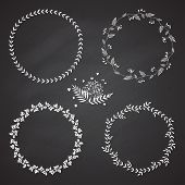 image of acorn  - Set of 4 circle cute hand drawn frames on the chalkboard background - JPG