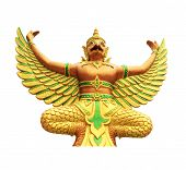picture of garuda  - Golden and Green Garuda Buddha statue in Thailand - JPG