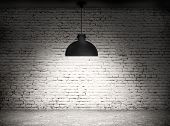 picture of wall-stone  - White grunge brick wall and black plafond are lights wall and floor from stone  - JPG