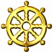 stock photo of shakti  - 3d golden Buddhism symbol Wheel of Dharma isolated in white - JPG