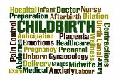 picture of cervix  - Childbirth word cloud on white background - JPG