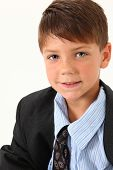pic of brown-haired  - Adorable seven year old american boy in over sized suit - JPG