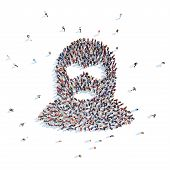 picture of terrorist  - Large group of people in the form of a mask terrorist - JPG