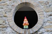 picture of dwarf  - Curious dwarf stands guard at home outside windows - JPG