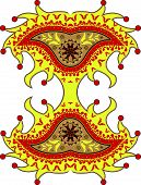 stock photo of harlequin  - harlequin paisley ornament against white background abstract vector art illustration - JPG