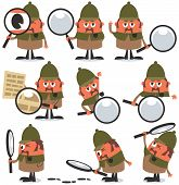 pic of private investigator  - Set of 9 illustrations of cartoon detective - JPG