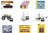 stock photo of armored car  - Set of the icons representing toys for teenager - JPG