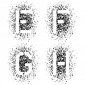 pic of g-spot  - vector stencil angular spray font letters E F G H - JPG