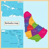Постер, плакат: Map of Barbados drawn with high detail and accuracy Barbados is divided into parishes which are col