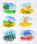 pic of lavender field  - Watercolor landscapes symbols wheat fields of poppies lavender herbs with miniature houses mill and a tractor with lettering organic farm local food the nature life - JPG