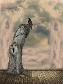 pic of raven  - Fantasy Landscape in the sky with raven art and illustration - JPG