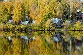 foto of siberia  - Forest lake in sunny aurumn day in Siberia - JPG