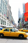 foto of cabs  - Manhattan New York New York city Yellow cab taxi downtown NYC US - JPG