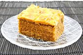 stock photo of toffee  - Closeup of Toffee Cake on a plate - JPG