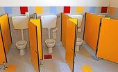 image of kindergarten  - three little water closed of a kindergarten for children with yellow doors - JPG