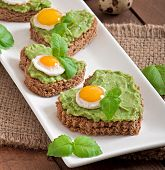 picture of lenten  - Sandwich with avocado paste and egg in the shape of heart - JPG