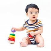 image of non-toxic  - Cute asian baby playing toy isolated on white - JPG
