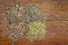 stock photo of irish moss  - background of four seaweed dietary supplements  - JPG