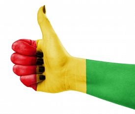 picture of reggae  - Colors of reggae music applied on hand - JPG