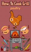 image of barbecue grill  - Vector illustration of the grill and barbecue beef pork and chicken grilled image ovens barbecue tools and vegetables - JPG