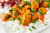 image of curry chicken  - Curried Coconut Chicken with red hot chili pepper and rice - JPG