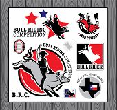 stock photo of bull-riding  - Set of vintage bull riding labels - JPG