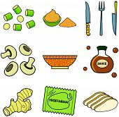picture of celery  - Nine images of different foods  - JPG