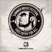 stock photo of pop star  - summer music festival stamp on textured background - JPG