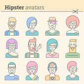 picture of avatar  - Creative set of hipster avatars for social media or web site - JPG