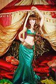 stock photo of harem  - Sexy oriental beauty holding a sword of Damascus steel - JPG