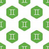 stock photo of gemini  - Vector zodiac Gemini symbol in hexagon - JPG
