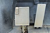stock photo of pedal  - Brake and accelerator pedal for cars for running - JPG