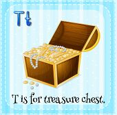 pic of letter t  - Flashcard letter T is for treasure chest - JPG