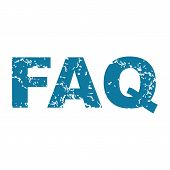 picture of faq  - Vector grunge blue icon with text FAQ - JPG