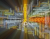 stock photo of supply chain  - Background concept wordcloud illustration of supply chain glowing light - JPG