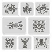 Постер, плакат: set of monochrome icons with American Indians relics dingbats characters part 3