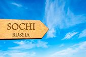 picture of sochi  - Wooden arrow sign pointing destination SOCHI - JPG