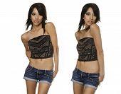 picture of denim wear  - Beautiful young woman wearing denim shorts - JPG