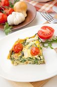 pic of kale  - Closeup of plate with one piece of fresh made frittata bread and tomatoes - JPG
