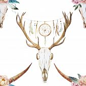 stock photo of deer head  - Beautiful vector watercolor pattern with deer head with wildflowers - JPG