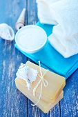 picture of douching  - Soap and Body Lotion on the Wooden Background - JPG