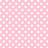 Pastel Pink, Big White Polka Dots